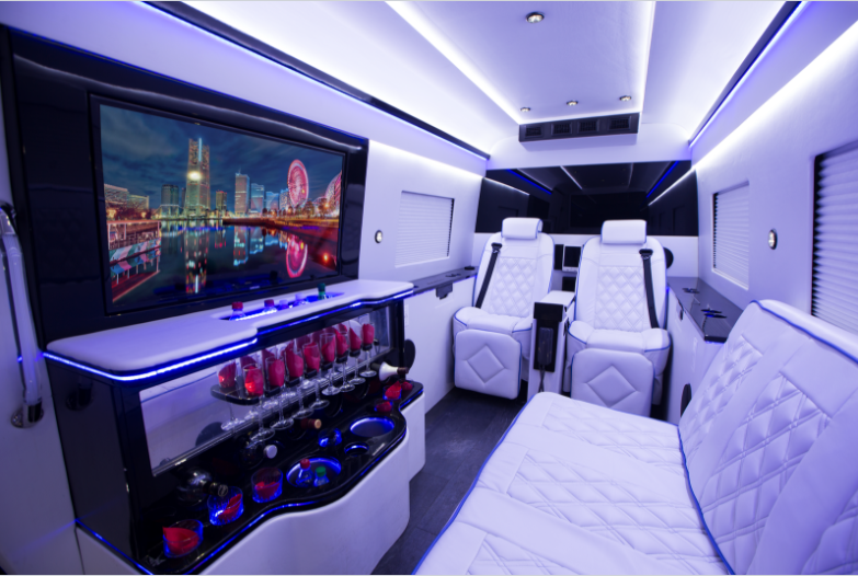 luxury party van goes high tech with automation technology from bluespeed av 1