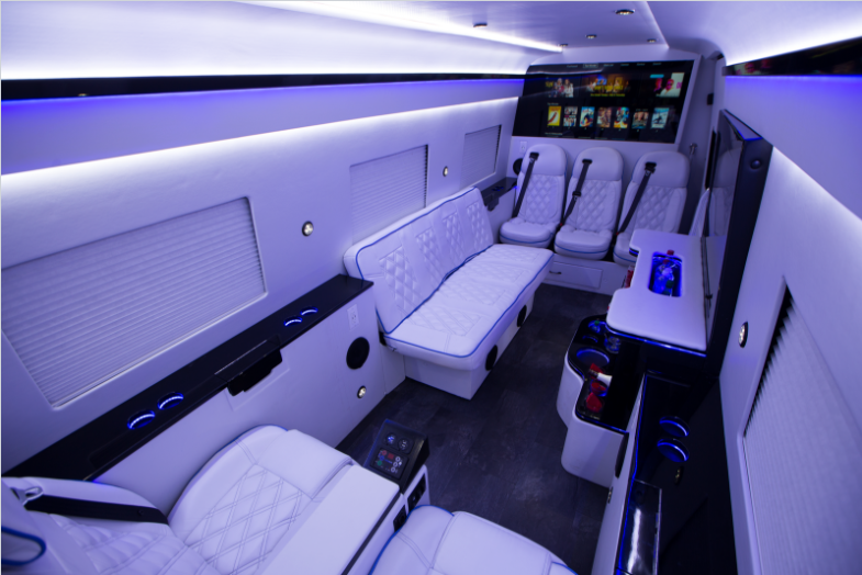 luxury party van goes high tech with automation technology from bluespeed av 2