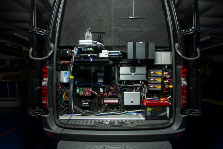 luxury party van goes high tech with automation technology from bluespeed av 3